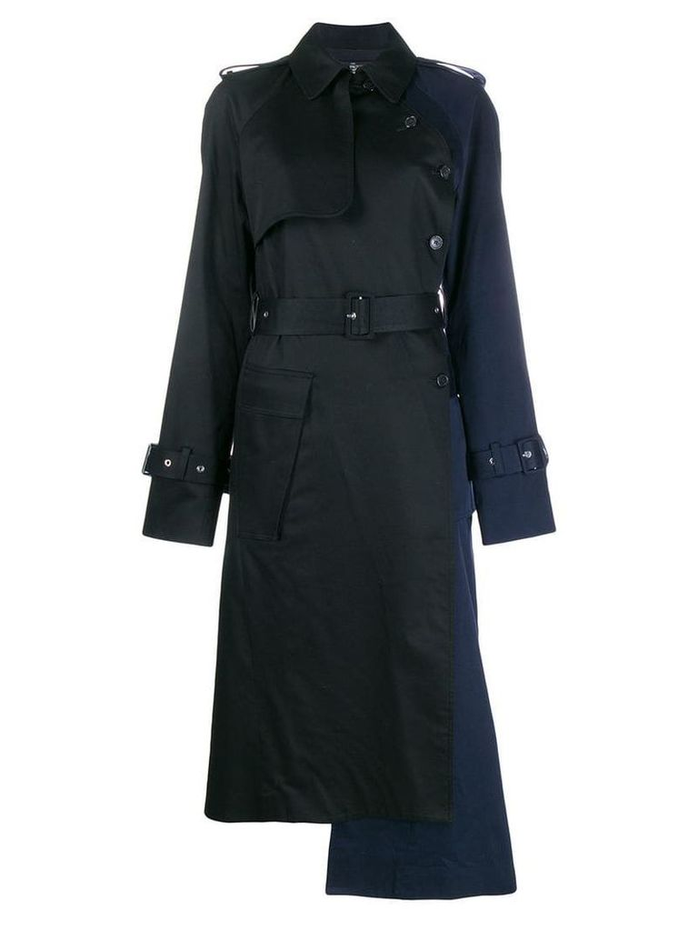 Rokh two-tone belted raincoat - Blue