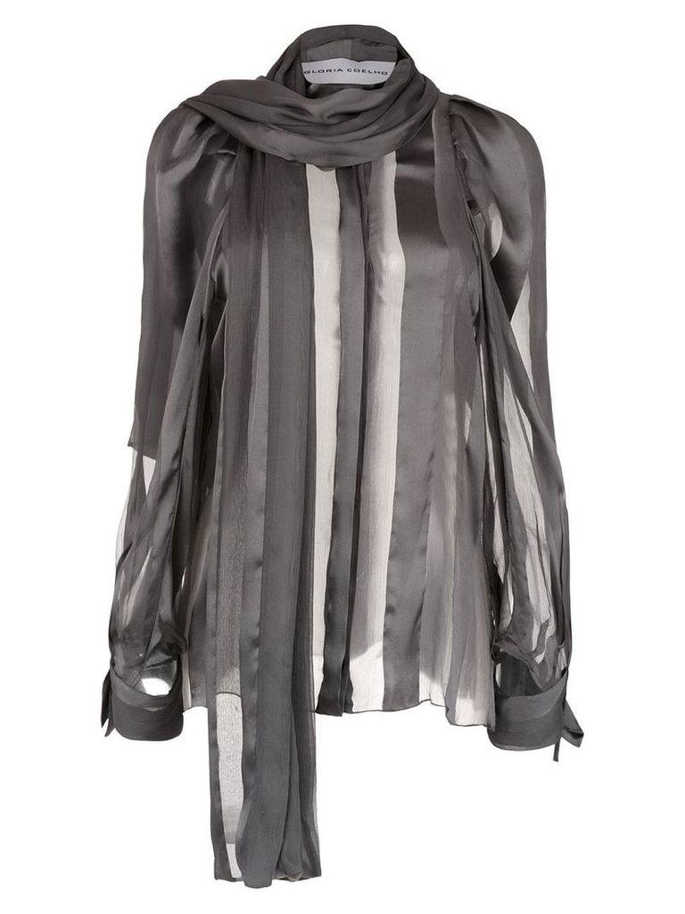 Gloria Coelho sheer blouse with scarf - Grey