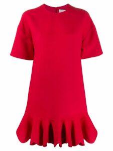 Valentino ruffled hem shift dress - Red