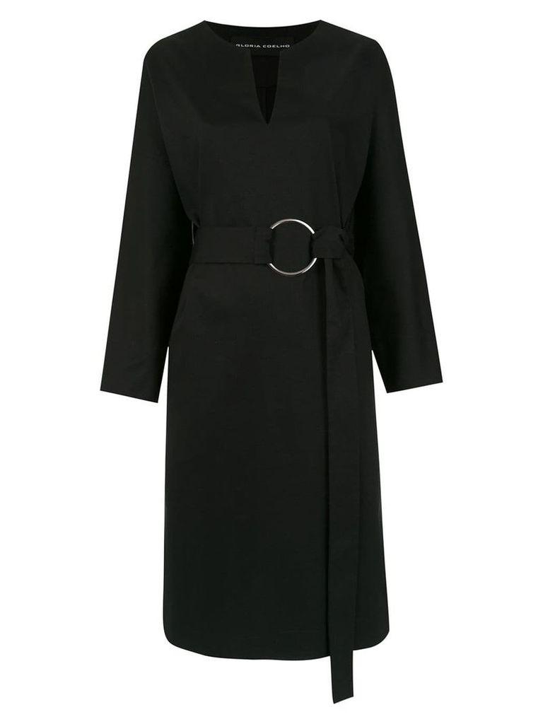 Gloria Coelho midi belted dress - Black