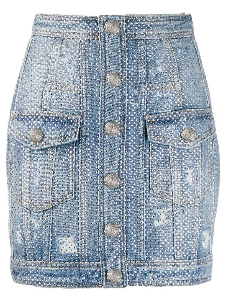 Balmain distressed rhinestone denim skirt - Blue