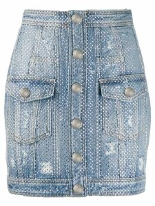 Balmain distressed rhinestone denim skirt - Blue