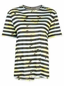 Proenza Schouler Striped Floral Splatter Short Sleeve T-Shirt - Blue