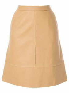 Nina Ricci plain leather skirt - Brown