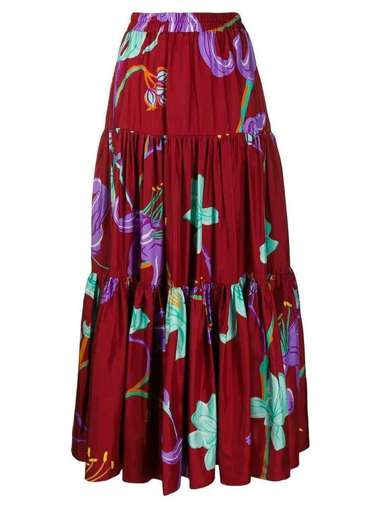 La Doublej tiered floral print skirt