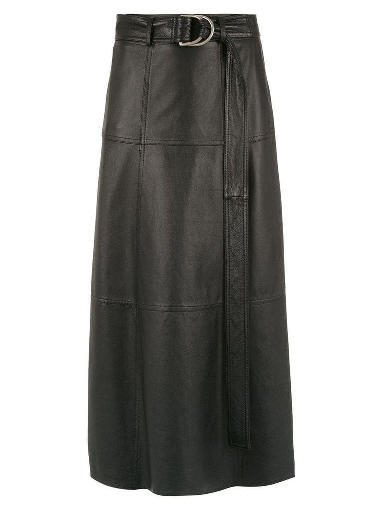 Gloria Coelho midi leather skirt - Black