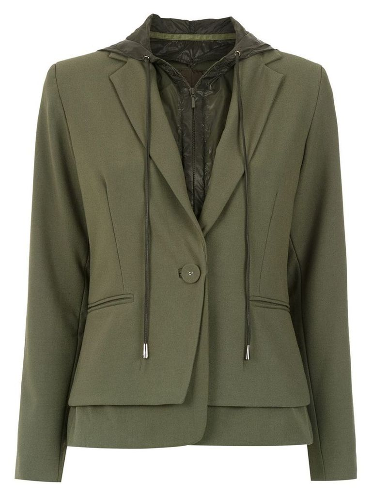 Mara Mac hooded layered blazer - Green