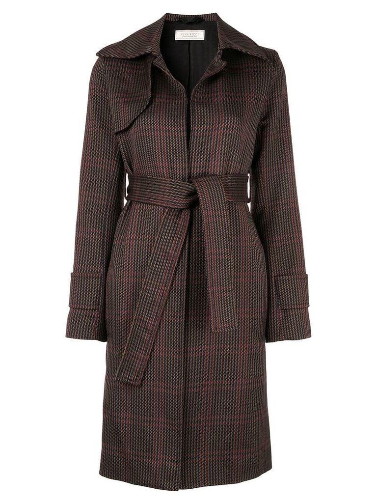 Nina Ricci check tie-waist coat - Multicolour