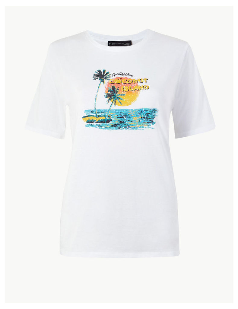 M&S Collection Pure Cotton Printed Straight Fit T-Shirt