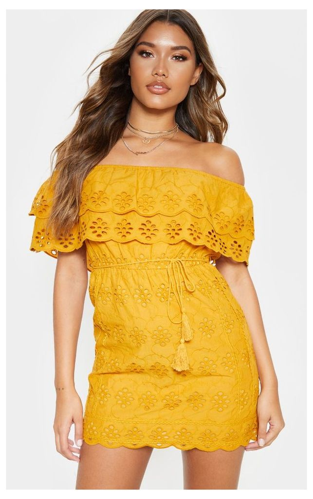 Mustard Broiderie Anglaise Bardot Tie Waist Shift Dress, Mustard