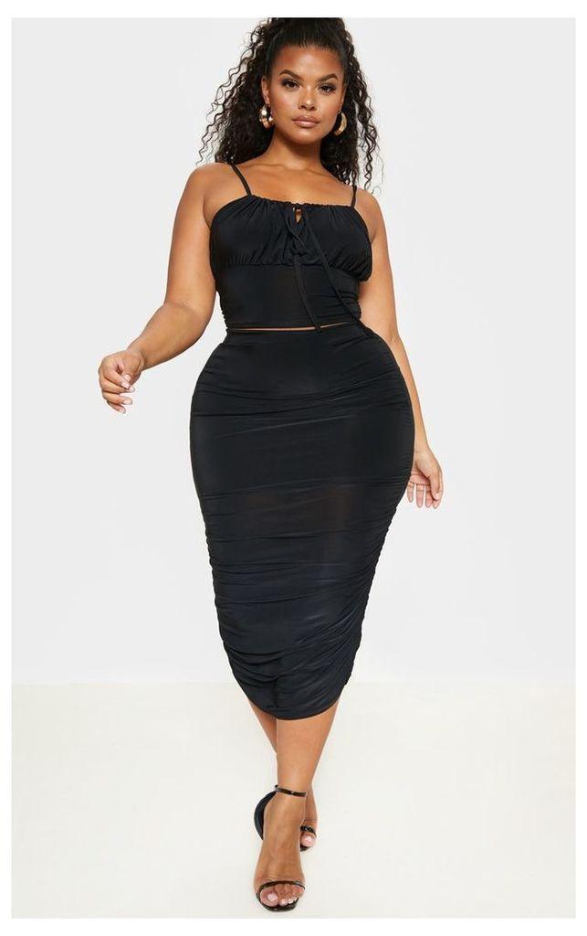 Plus Black Slinky High Waisted Ruched Midi Skirt, Black