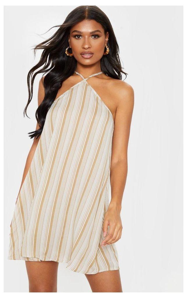 Sand Stripe Halterneck Printed Shift Dress, Sand