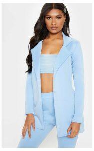 Baby Blue Longline Fitted Blazer, Blue