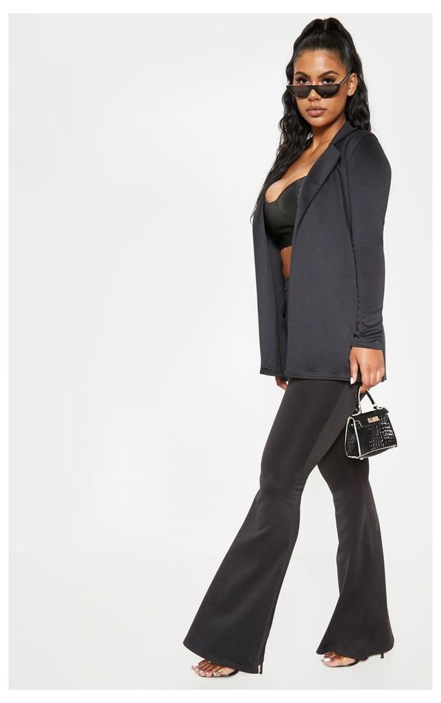 Black Longline Fitted Blazer, Black