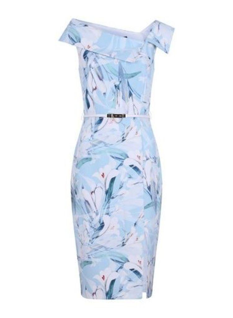 Womens **Paper Dolls Blue Asymmetric Neck Bodycon Dress, Blue