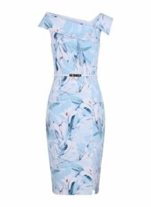 Womens **Paper Dolls Blue Asymmetric Neck Bodycon Dress- Blue, Blue