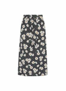 Womens Black Daisy Print Tie Midi Skirt- Black, Black