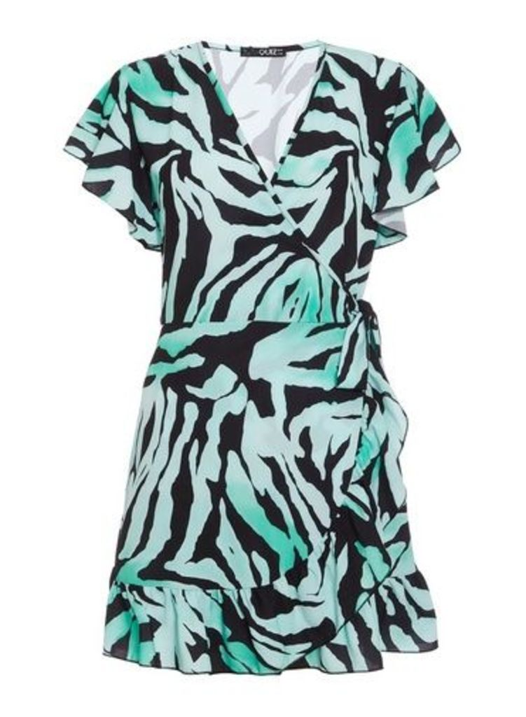 Womens *Quiz Multi Colour Zebra Print Wrap Frill Dress- Green, Green