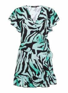 Womens *Quiz Green Zebra Print Wrap Frill Dress- Green, Green