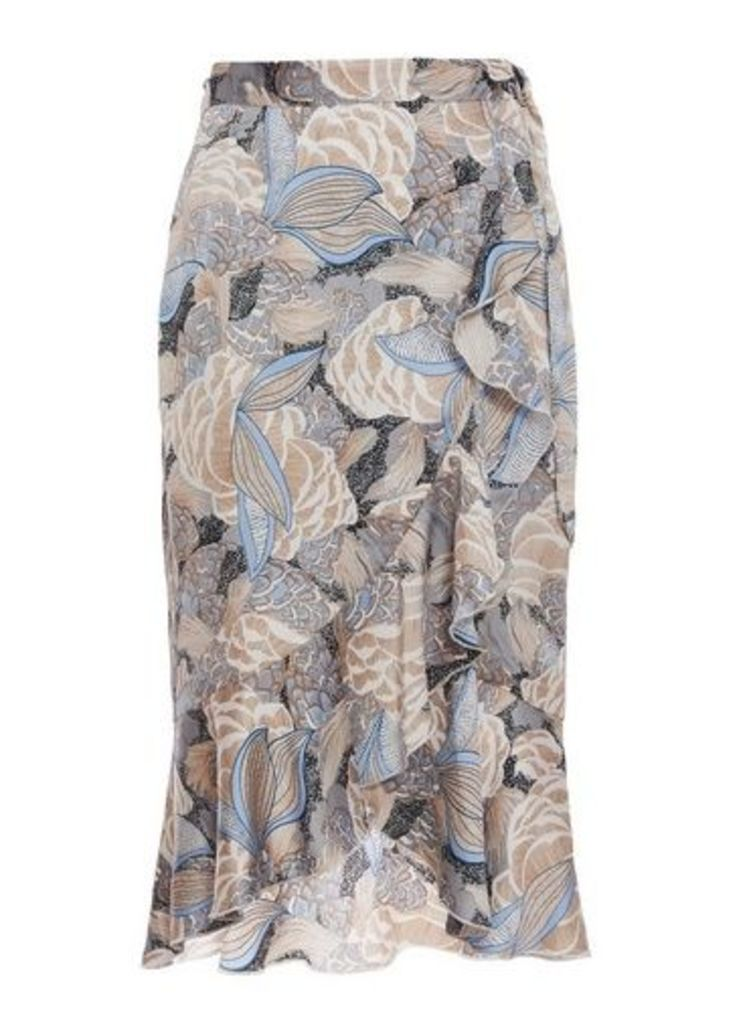 Womens *Quiz Blue Abstract Print Wrap Midi Skirt- Blue, Blue