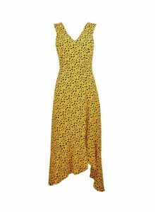 Womens Yellow Animal Print Asymmetric Dress- Yellow, Yellow