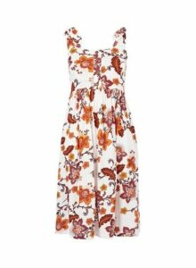 Womens Petite White Floral Print Crinkle Camisole Dress- White, White