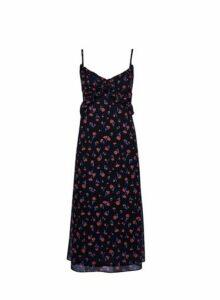 Womens Black Floral Print Chiffon Midi Dress- Black, Black