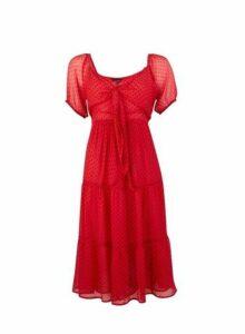 Womens **Red Spot Print Midi Skater Dress- Red, Red