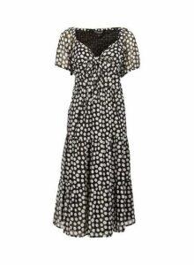 Womens **Ivory Spot Print Midi Dress- Black, Black