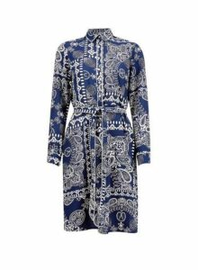 Womens **Blue Scarf Print Shirt Dress- Blue, Blue