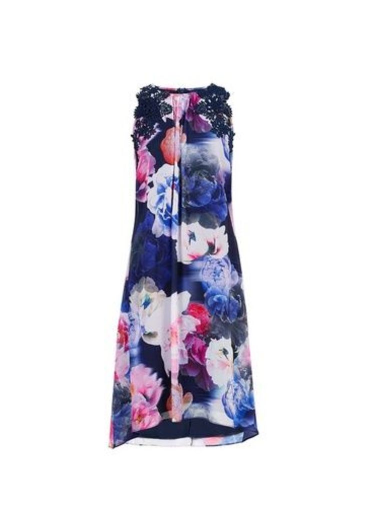 Womens **Showcase Multicoloured Lace Detail Trapeze Dress- Multi Colour, Multi Colour