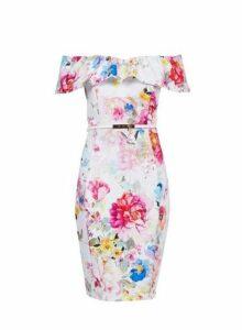 Womens **Showcase Multi Colour Floral Print Bardot Dress- Multi Colour, Multi Colour