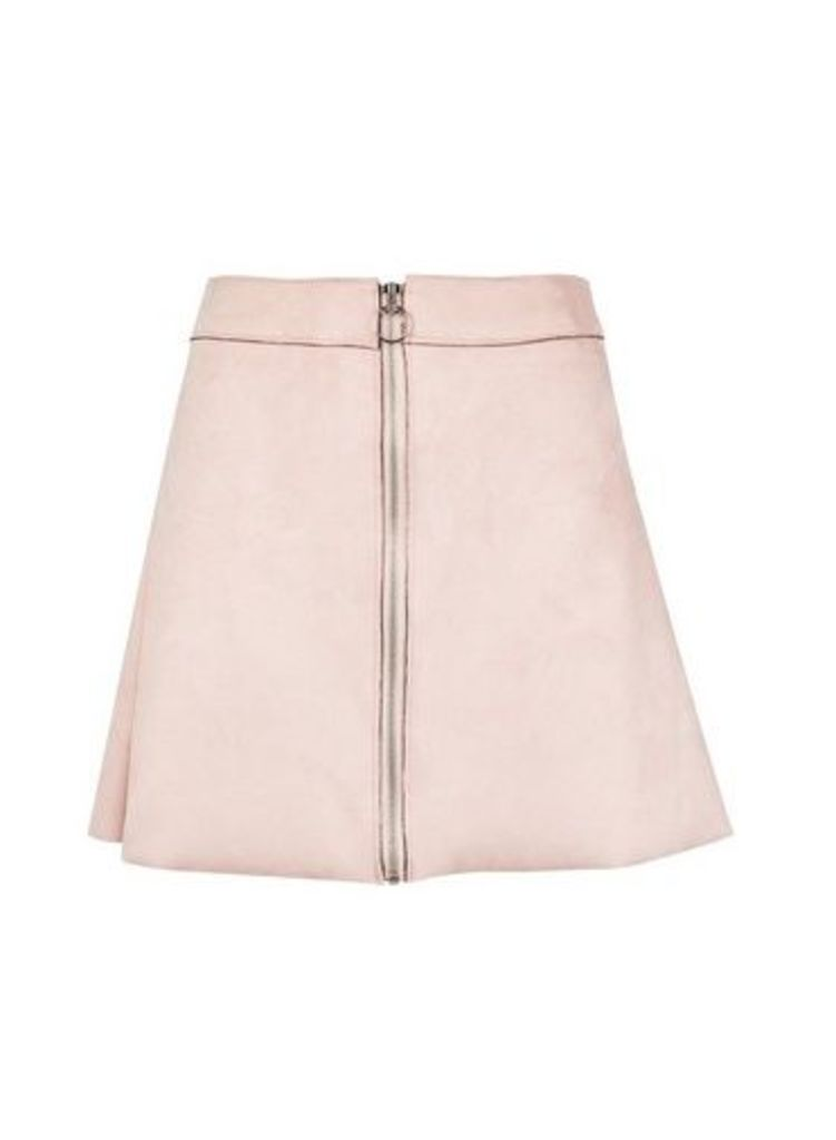 Womens **Only Pink Zip Through Skirt- Pink, Pink