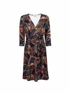 Womens **Tall Multi Coloured Paisley Print Wrap Dress- Orange, Orange