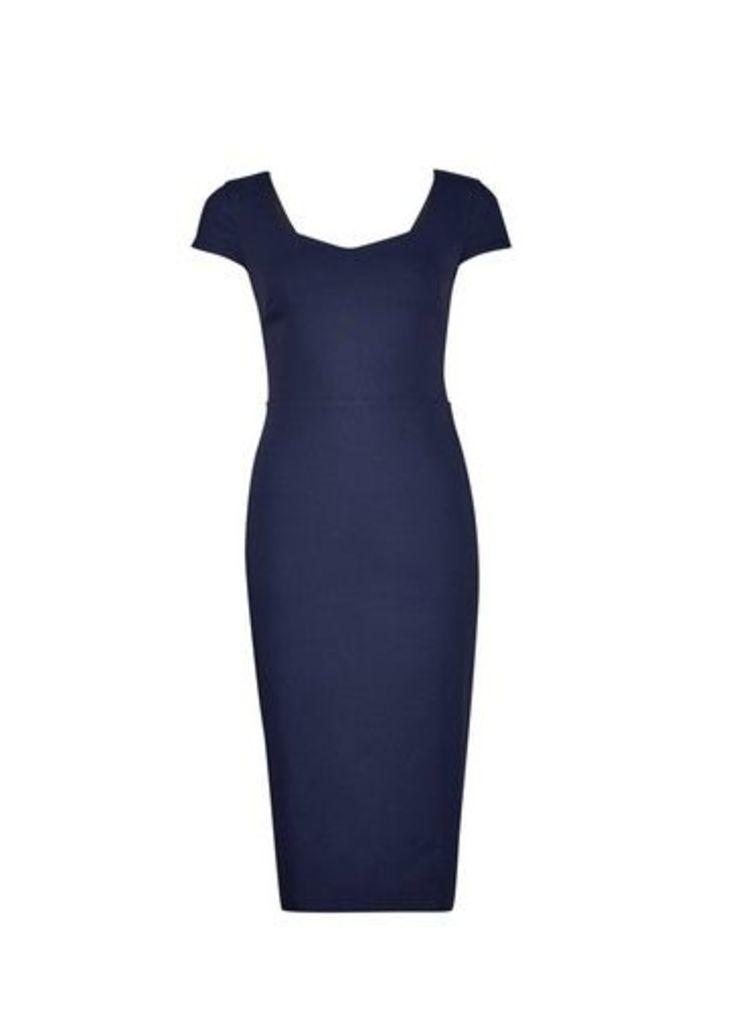 Womens Navy Sweetheart Neck Pencil Dress- Blue, Blue