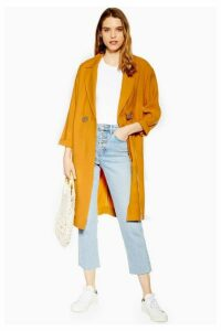Womens Mustard Duster Coat With Linen - Mustard, Mustard