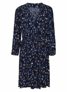 Womens **Blue Long Sleeve Wrap Dress- Blue, Blue