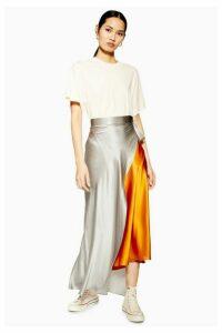 Womens **Colour Block Silk Skirt By Boutique - Multi, Multi