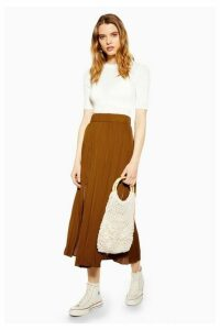 Womens Tan Satin Pleated Midi Skirt - Tan, Tan