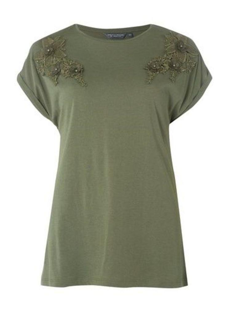 Womens **Tall Khaki Flower Applique T-Shirt- Khaki, Khaki