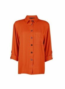 Womens Rust Gold Button Shirt- Rust, Rust
