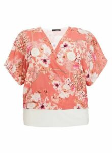 Womens *Quiz Curve Coral Chain Print Top- Coral, Coral
