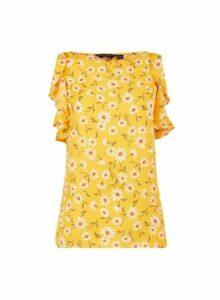 Womens Yellow Daisy Print Ruffle Top- Yellow, Yellow