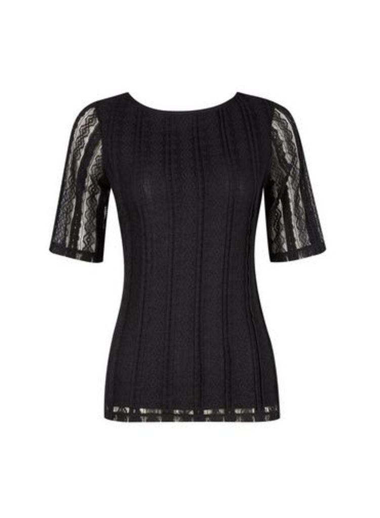 Womens Black Scoop Back Lace T-Shirt- Black, Black
