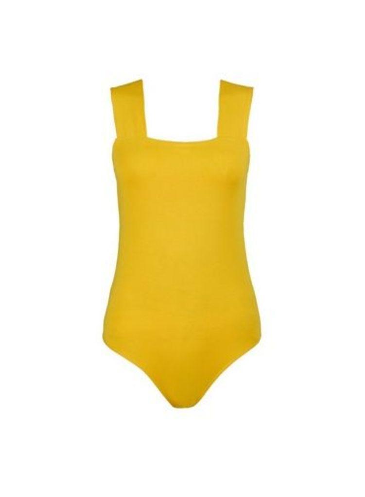 Womens Yellow Square Neck Bodysuit- Orange, Orange