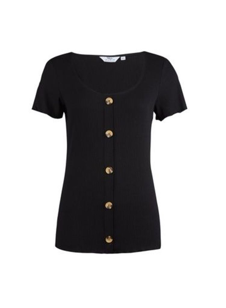 Womens **Tall Black Rib Button Top- Black, Black