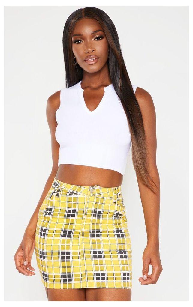 Yellow Checked Denim Skirt, Yellow