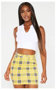 Yellow Checked Denim Skirt, Yellow