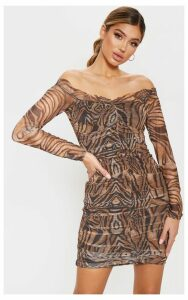 Brown Tiger Print Mesh Ruched Frill Bodycon Dress, Brown