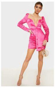 Hot Pink Satin V Bar Drape Bodycon Dress, Hot Pink